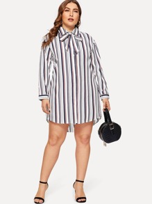 Plus Single Breasted Striped Curved Hem Shirt Dress