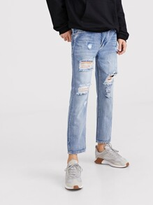 Men Ripped Detail Washed Jeans