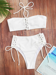 Halter Bandeau With Tie Side Bikini Set