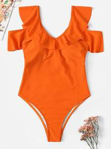 Cold Shoulder Knot Back One Piece Swimwear