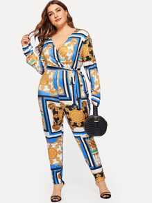 Plus Chain Print Surplice Front Self-tie Jumpsuit