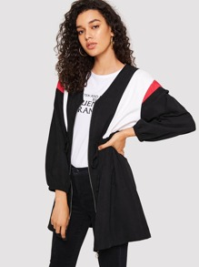 Zip Up Cut And Sew Drawstring Waist Coat