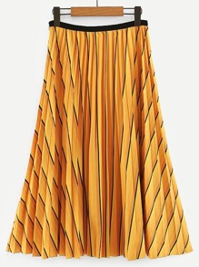 Zip Side Striped Pleated Skirt