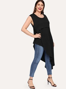 Plus Backless Asymmetrical Hem Sleeveless Tee
