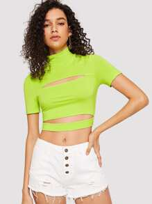 Cut Out Neon Lime Crop Tee