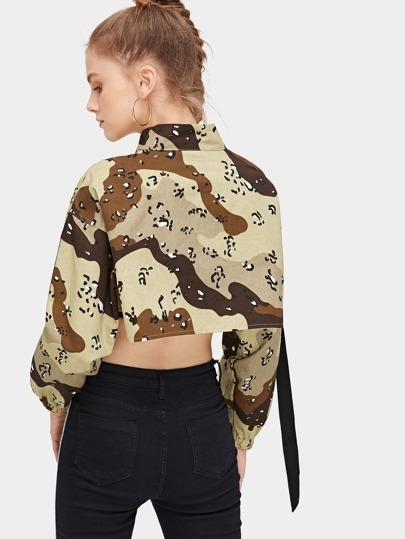2b136651a2e4a Leopard And Camo Print Zip Up Crop Jacket | ROMWE