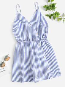 Striped Button Through Cami Romper