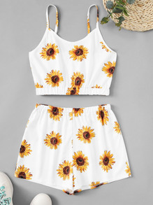 Sunflower Print Cami Top With Shorts