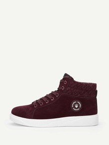 Men Lace-up Front High Top Suede Trainers