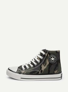 Camouflage Lace-up High Top Sneakers