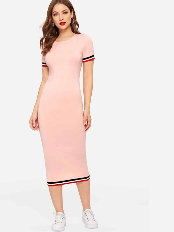 617fac7cd8 Striped Cuff & Hem Bodycon Dress | SHEIN UK