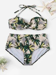 Plus Tropical Ruched Halter Top With High Waist Bikini
