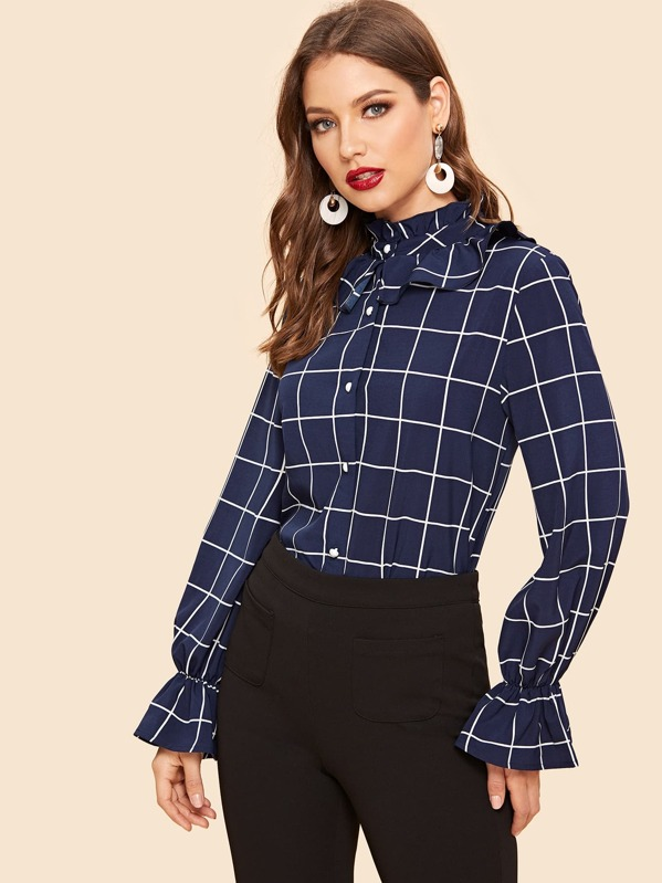 c4bdd02559 Cheap 50s Ruffle Trim Flounce Sleeve Grid Shirt for sale Australia ...