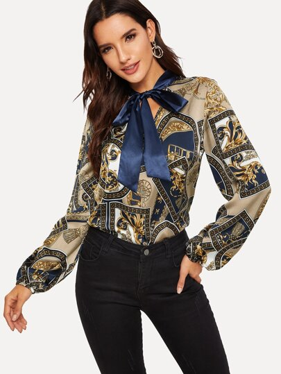 Tie Neck Scarf Print Satin Blouse