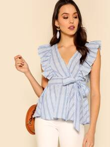 Ruffle Trim Wrap Belted Striped Top