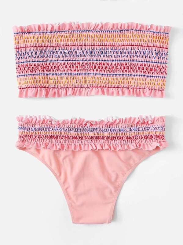 4e71d4ab8853 Con volantes adornados con pompón y panty Bikini