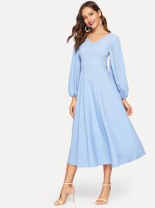 Lantern Sleeve Button Detail Flare Midi Dress