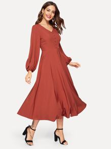 Blouson Sleeve Button Front Midi Dress