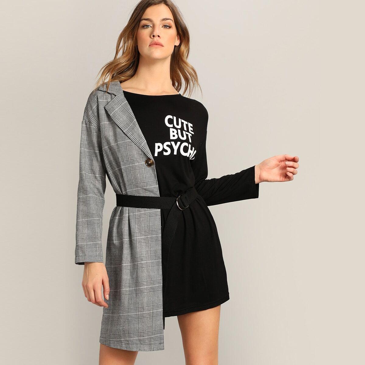 Асимметричное платье с поясом