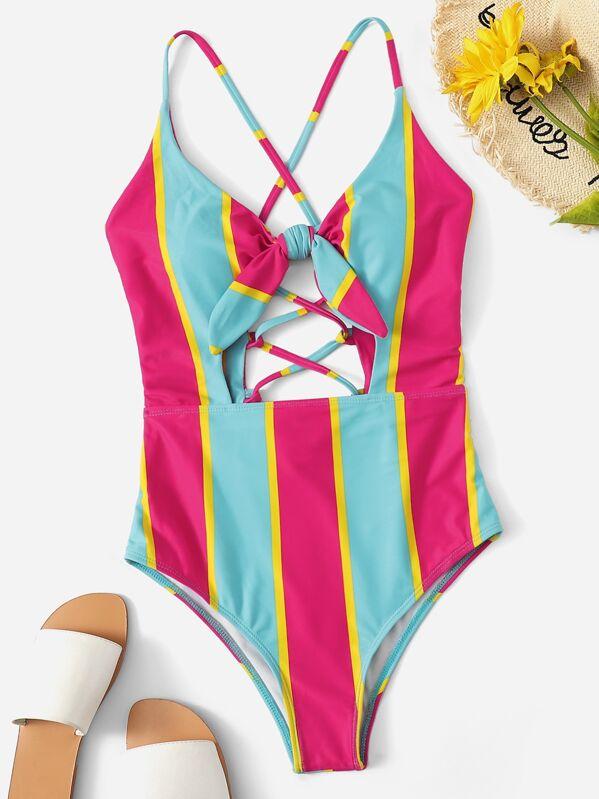 c4d4e6e897 Striped Cut-out Criss Cross One Piece Swim   SHEIN