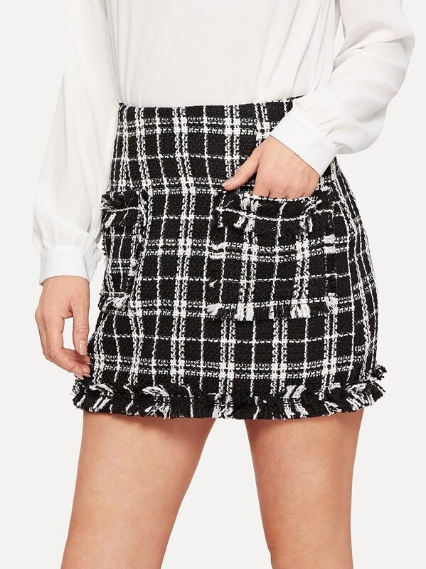 bd58b25754 O-ring Zip Back Raw Hem Pocket Patched Tweed Skirt | SHEIN UK