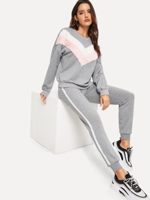 Contrast Faux Fur Chevron Pullover and Sweatpants Set