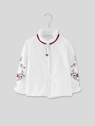 Toddler Girls Tie Neck Embroidered Blouse