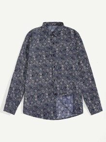 Men Floral Print Curved Hem Shirt