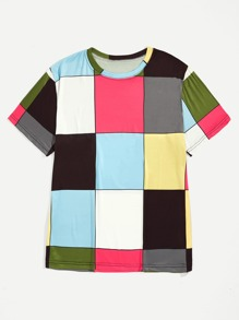 Men Colorful Plaid Tee