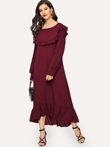 Bishop Sleeve Ruffle Hem Dress