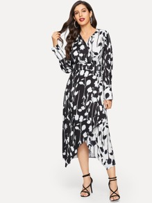 Floral Print V-neck Asymmetrical Hem Wrap Dress
