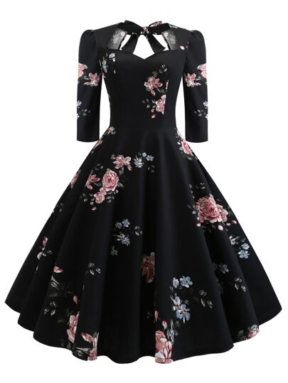 50s Sweetheart Knot Back Floral Flare Dress