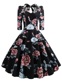 50s Floral Print Tie Back Flare Dress