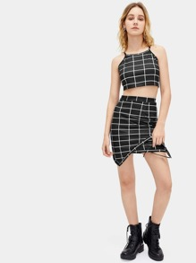 Plaid Cami Top With Asymmetrical Hem Skirt