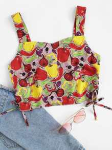 Fruit Print Knot Side Crop Top