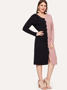 Plus Two Tone Button Detail Knit Dress