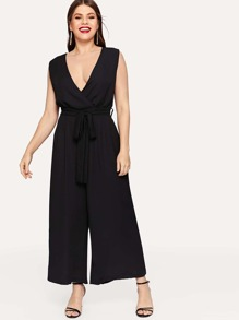 Plus Solid Self-tie V-neck Jumpsuit