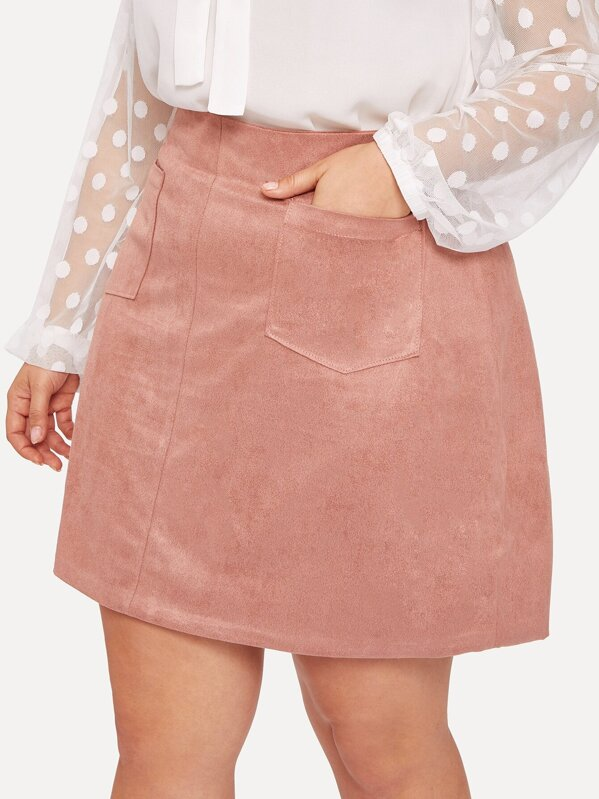 34754948b Plus Solid Pocket Detail Suede Skirt | SHEIN