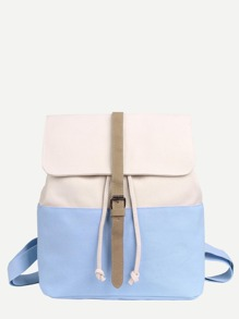 Two Tone Buckle Strap Decor Canvas Backpack
