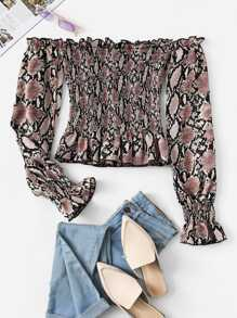 Snake Print Off The Shoulder Blouse