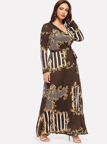 Plus Baroque Print Belted Dress