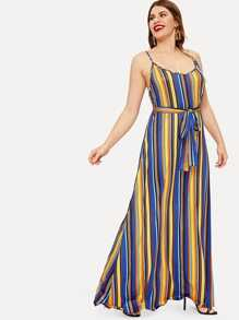 Plus Colorful Striped Belted Cami Dress