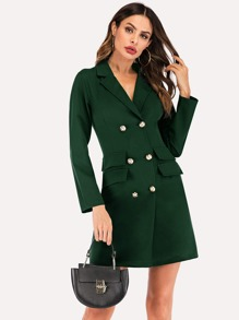 Double Breasted Dual Pocket Blazer Dress