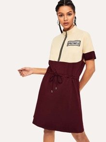 Cut And Sew Zip Up Neck Sweatshirt Dress