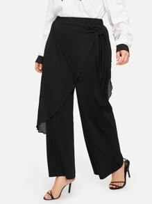 Plus Elastic Waist Contrast Mesh Trim Knot Side Pants