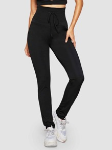 Drawstring High Waist Solid Pants