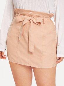 Plus Button Waist Belted Paperbag Skirt
