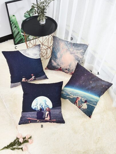 Planet & Couple Print Cushion Cover 1pc