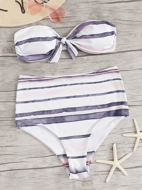 d17cfb754d Striped Knot Front Bandeau With High Waist Bikini Set | SHEIN