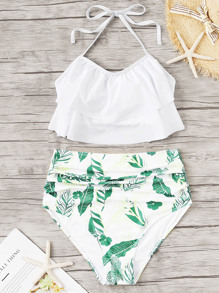 Layered Halter Top With Random Leaf Bikini